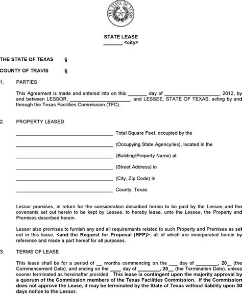 sle standard lease agreement standard state lease contract form for free
