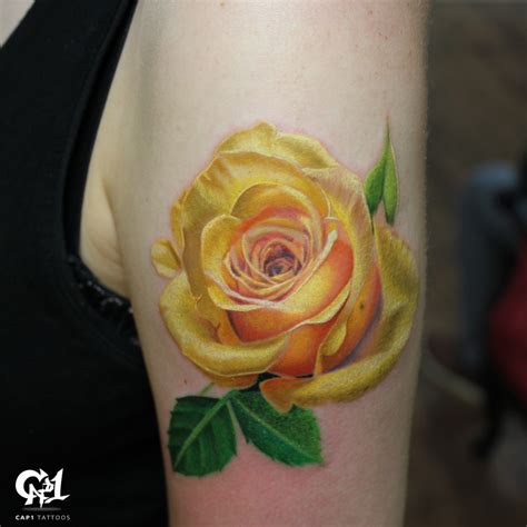 yellow rose tattoo shop realistic color by capone tattoonow