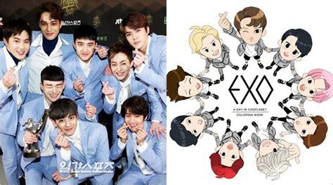 lucunya member exo dijadikan karakter kartun buku mewarnai mau kabar berita artikel