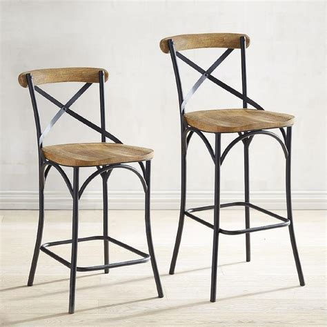 French Country Blue X Back Counter Stool