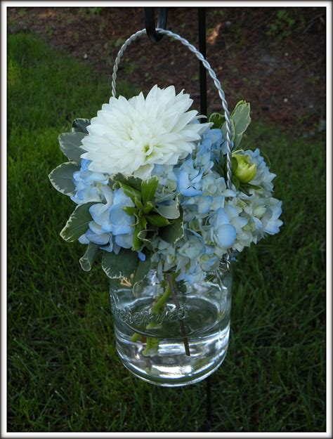 hydrangea bouquets jar centerpieces a real