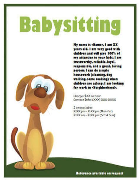 babysitting flyer template babysitting flyers and ideas 16 free templates