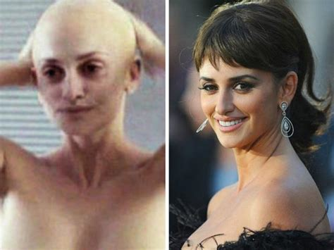 hairy before and shaved photos penelope cruz goes bald for her most complex character