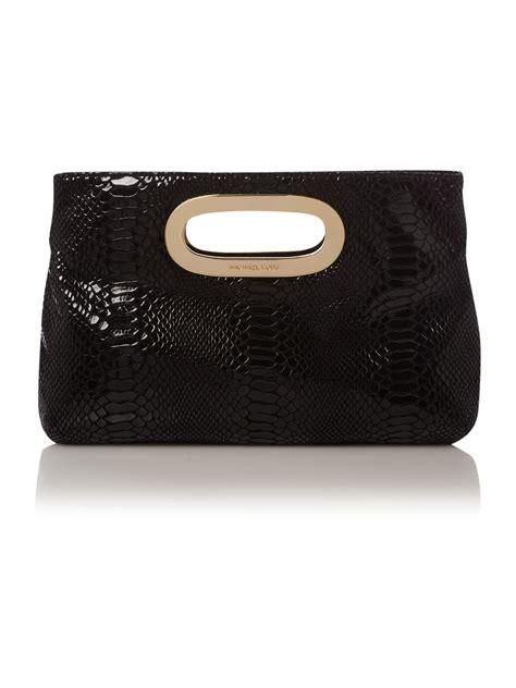 Michael Kors Clutch by Michael Kors Berkley Patent Python Clutch Bag In Black Lyst
