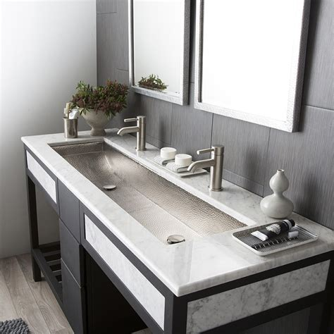 bathroom sink with two faucets trough 48 double basin rectangular bathroom sink native