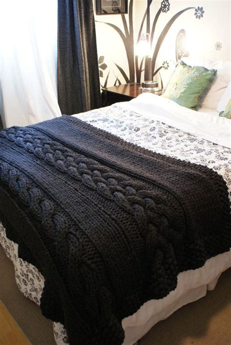 knitted bed throw pattern pattern throw blanket rug chunky cable 49