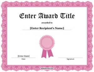 pink ribbon certificate template for microsoft word