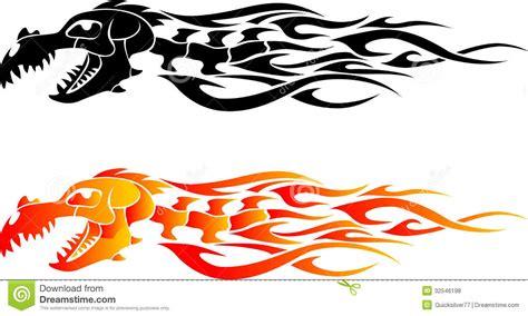 dragon bone flame tattoo stock illustration illustration