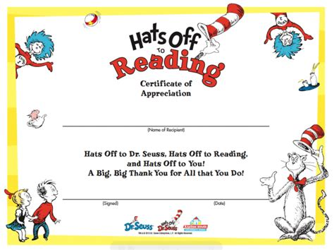 free templates for reading certificates happy birthday dr seuss school library ideas and