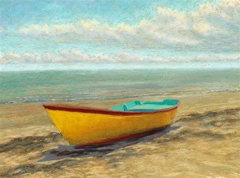 yellow boat paint pastel painting daily painting seascape yellow boat