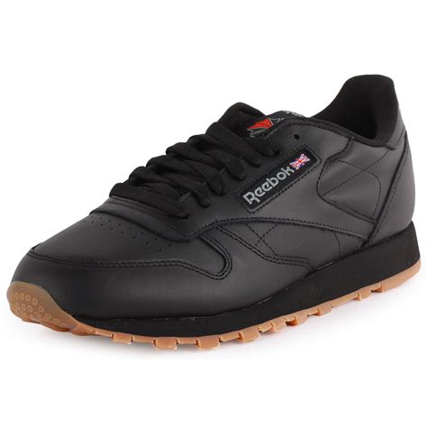 reebok classic leather mens leather black gum trainers new