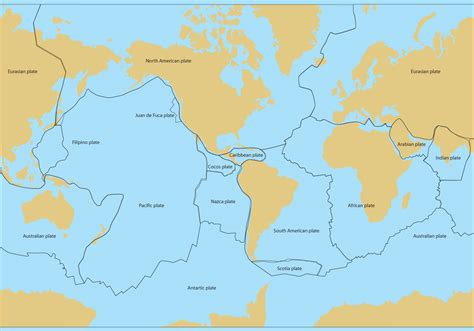 tectonic plate map tectonic plates map vector free vector stock graphics images