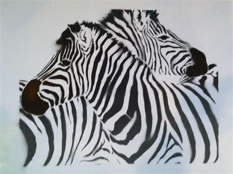 2 zebras handmade stencil prints the full moon