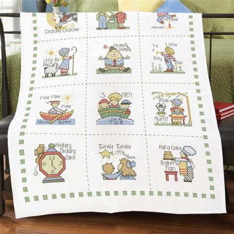Cross Stitch Baby Quilt Patterns by Herrschners 174 Nursery Rhymes Baby Quilt Top Sted Cross Stitch