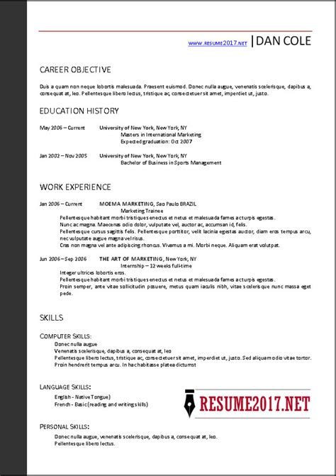 Resume Template 2017 Word by Free Resume Templates 2017