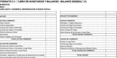 libro de inventarios y balances sunat 2015 formatos contables sunat formato del balance general sunat