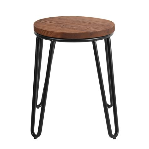 small hairpin stool in black with timber seat caf 233