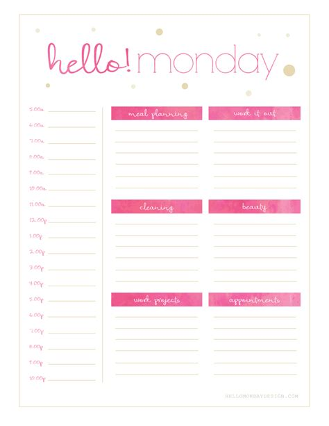 Pdf Hello Weekly Monthly Planner by Free Hello Monday Sunday Weekly Planner Printables