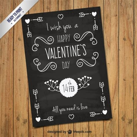 handwritten valentines day card in blackboard style vector