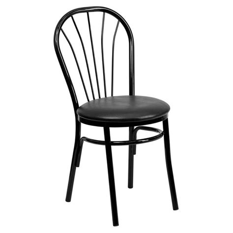 fan back dining chairs fan back metal dining chair in black xu 698b blkv gg