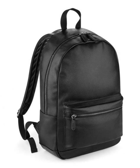 Faux Leather Plain Backpack plain bagbase faux leather backpack bag bagbase 580 gsm