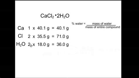 hydration percentage calculating percent water in a hydrate