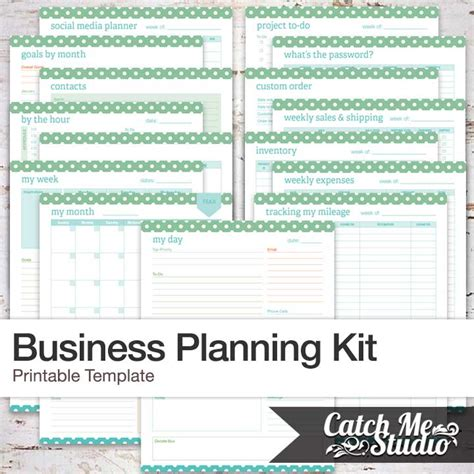 etsy business plan template printable business planner