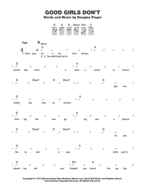 strumming pattern how you get the girl good girls don t sheet music by the knack ukulele with