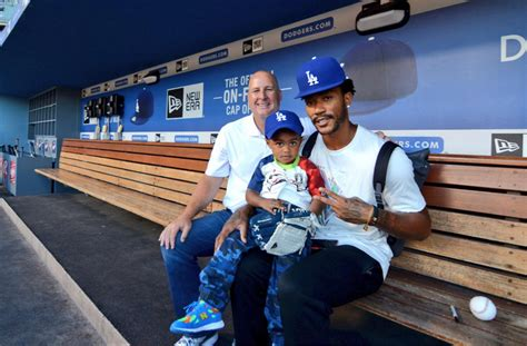 derrick rose house derrick rose spends the day at dodger stadium in los angeles with his son the