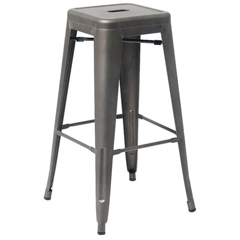 Bistro Style Bar Stools by Bistro Style Metal Backless Bar Stool In Grey Finish