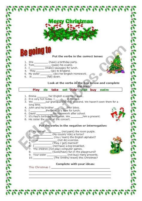 christmas verbs    exercises esl worksheet  marta veiga
