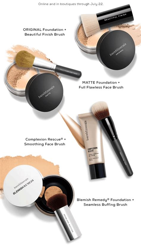 Bareminerals Gift Card - bareminerals ends tonight save on foundation brush pairs milled