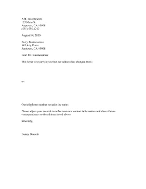 Business Letter Template Change Of Address Address Change Notification Letter Template