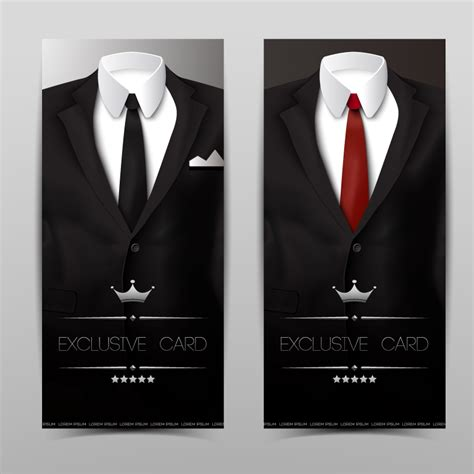 Suit And Tie Card Template by Exclusive Card Suits Vector Free Vector Graphic