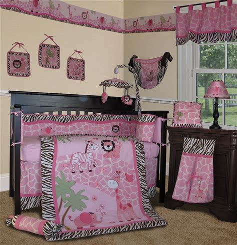 Pink Baby Crib Bedding Sets Baby Boutique Pink Safari 13 Pcs Nursery Crib Bedding Set Ebay
