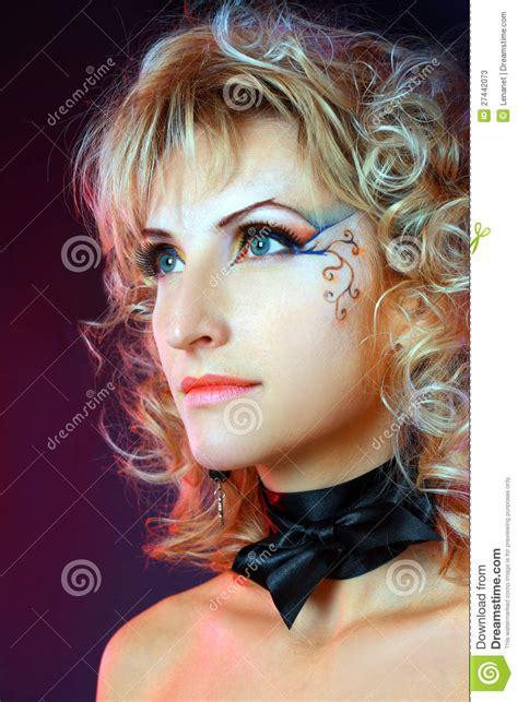 beautiful makeup face art close  stock  image
