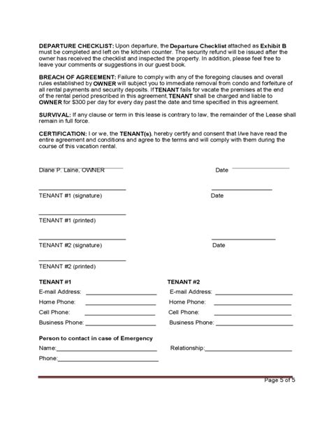 Weekly Rental Agreement Template by Standard Vacation Rental Agreement Template Free