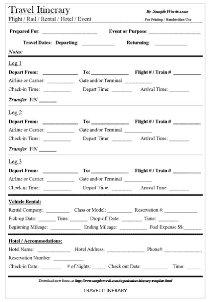 Get a free travel itinerary template to manage travels
