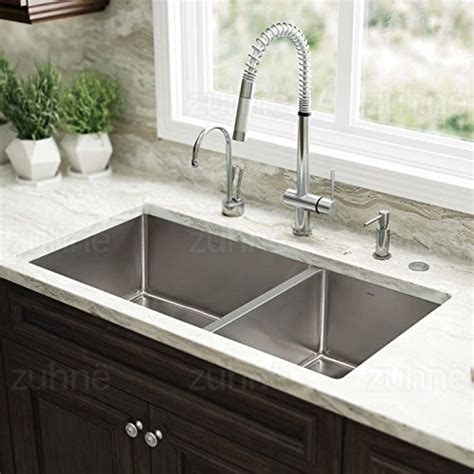 Zuhne 32 Inch Undermount 60 40 Deep Double Bowl 16 Gauge 40 Inch Kitchen Sink
