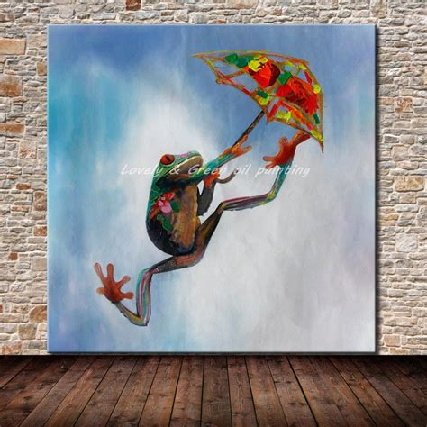 Handmade Paintings On Canvas - decorative handmade modern abstract jumping frog