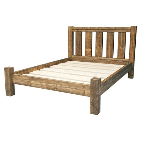 Rustic Bed Frames Rustic Solid Wood Bed Frame With Slatted By Funkychunkyfurniture