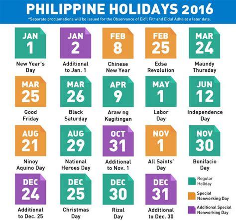 printable calendar 2016 with philippine holidays list of national observances 2016 calendar template 2016
