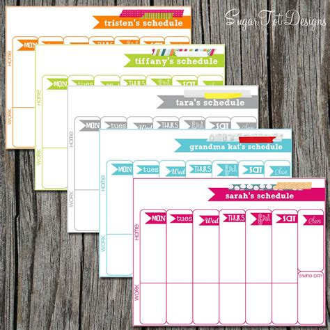 custom template personalized weekly schedule weekly scheduler by