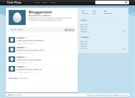 template layout twitter twit plus twitter inspired blogger template