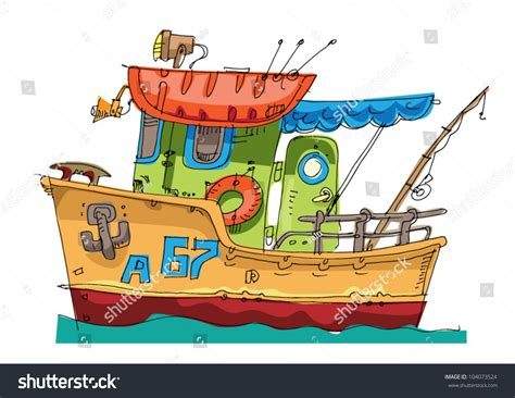 cartoon jon boat fishboat cartoon caricature stock vector 104073524
