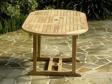 oval extending teak garden table tahiti