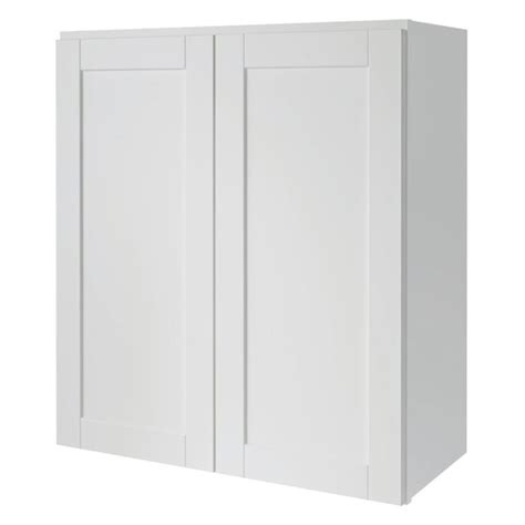 White Kitchen Wall Cabinets Shop Now Arcadia 27 In W X 30 In H X 12 In D White Shaker Door Wall Cabinet At Lowes