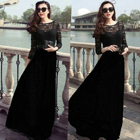 baju gaun dress brukat warna hitam panjang model terbaru