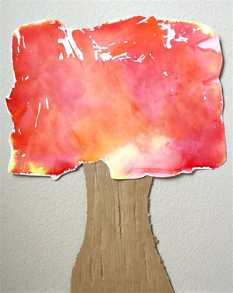 Tissue Paper Tree Craft - tissue paper fall tree craft