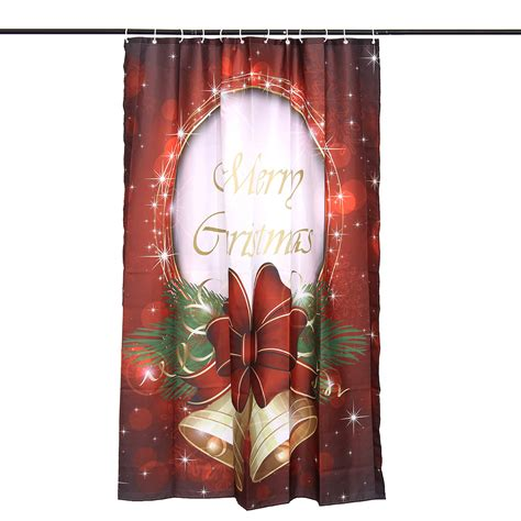 christmas shower curtain hooks 60 x 72 quot waterproof christmas bell polyester bathroom